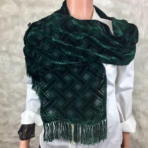 Vintage Emerald Green Velvet & Silk Scarf